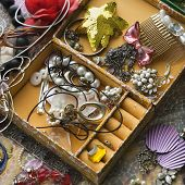 Above view of open jewelry box sitting on top of dresser.