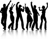 picture of party people  - silhouettes of people dancing on white background - JPG