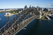 Aerial view of Sydney Harbour Bridge in Australia. Horizontal shot.