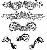 image of white flower  - Black retro vector image for design - JPG