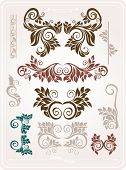 Abstract elements for design. Retro floral ornament for background.