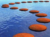 stock photo of stepping stones  - a path across the river made from stepping stones - JPG
