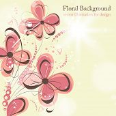 Cute floral seamless background with abstract hand drawn flowers, leafs and hearts for design. eps 1