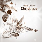 image of hand drawn  - Christmas hand drawn fur tree for xmas design - JPG