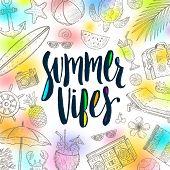 Summer vibes - Summer calligraphy. Summer holidays. Summer vector. Summer illustration. Summer items poster