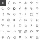 Spring Season Universal Outline Icons Set. Linear Style Symbols Collection, Line Signs Pack. Vector  poster