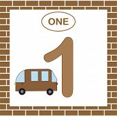 Learning Numbers With Transport For Preschool Children. Number 1 (one) With Minibus. Card. Vector Il poster