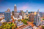 Charlotte, North Carolina, USA uptown cityscape at dusk. poster