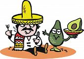 Vector cartoon of Mexican man with avocado