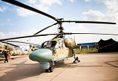 MOSCOW - AUG 16: Fully armed army attack helicopter at the International Aviation and Space salon MA