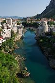 foto of mosk  - Photo of the old bridge in Mostar connecting the bosnian and croats sides - JPG
