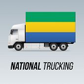 Symbol Of National Delivery Truck With Flag Of Gabon. National Trucking Icon And Gabonese Flag poster