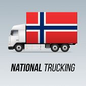 Symbol Of National Delivery Truck With Flag Of Norway. National Trucking Icon And Norwegian Flag poster