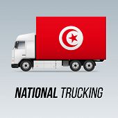 Symbol Of National Delivery Truck With Flag Of Tunisia. National Trucking Icon And Tunisian Flag poster