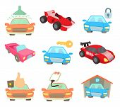 Super Car Icon Set. Cartoon Set Of Super Car Vector Icons For Web Design Isolated On White Backgroun poster