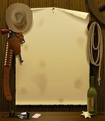 foto of wild west  - Raster version of vector illustration with a Wild West Relay Poster in the environment of cowboy accessories on the wood wall background - JPG