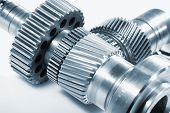 aerospace gears of titanium set against light background, ideal for isolations