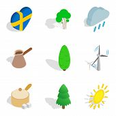 Scandinavian Country Icons Set. Isometric Set Of 9 Scandinavian Country Vector Icons For Web Isolate poster