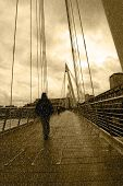 Raining On London City Bridge