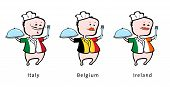 Chef of restaurant from Italy Belgium Ireland - vector illustration