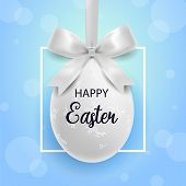 Happy Easter. White Easter Egg With Ornament And Bow With Border On A White Background.spring Holida poster