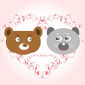bear and lemur face in love