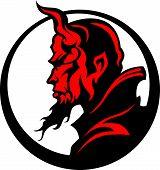 Teufel Dämon Maskottchen Kopf Abbildung