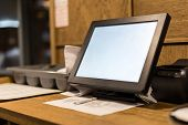 Point Of Sale Pos Touchscreen Terminal.  Tablet For Waiter To Make And Send Orders.  Cafe Administra poster