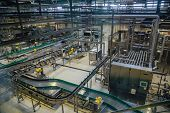 Modern Brewery Production Line, Aerial View. Conveyor Belt, Pipeline For Ingredient Delivery, Machin poster