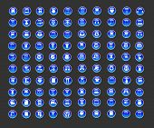 100 Crystal Blue Icons