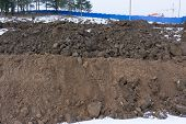 Agricultural Land For Cultivation, A Large Pile Of Thick, Wet Brown Soil Mountain Shape, Clay Pile I poster