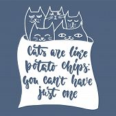 Cats Are Like Potato Chips, You Cant Have Just One - Hand Drawn Lettering Phrase For Animal Lovers  poster