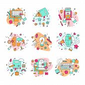 Education Icons Vector Illustration Educational And Learning Symbols Of Schooling And Graduation Set poster