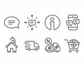 Set Of Truck Delivery, Phone Messages And Currency Exchange Icons. Sms, Chat And Add Products Signs. poster
