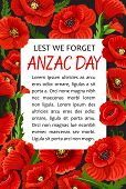 Anzac Day Lest We Forget Greeting Card Of Poppy Flowers Wreath For 25 April Australian And New Zeala poster