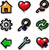 Vector web icons marker colour contour tools