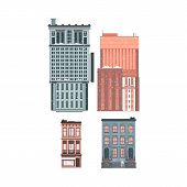 Vector Flat Building Set Icon. Modern And Vintage Architecture. Office Apartment, Residential Buildi poster