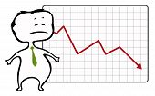 unhappy trader and a drop chart with falling red arrow - vector illustration
