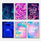 Marble Template Set Of 6 Creative Design Posters, Artistic Covers. Modern Marble Colorful Textures.  poster