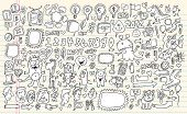 Notebook Doodle Speech Bubble Design Elements Mega Vector Illustration Set  with Animals Monsters and People