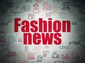 News Concept: Painted Red Text Fashion News On Digital Data Paper Background With   Hand Drawn News  poster