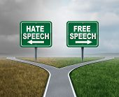 Free Speech And Hate Talk As Freedom Or Hatred Symbol As Opposite Political Directions With 3d Illus poster