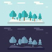 Set Of Winter Landscapes. Ski Resort Landscapes. Day And Night In Winter Forest. Beautiful Landscape poster