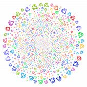 Psychedelic Diamond Centrifugal Cluster. Psychedelic Cycle Done With Scattered Diamond Items. Vector poster