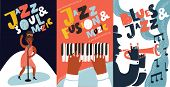 Vector Colorful Set Of Poster With Hand Drawn Illustration With Singer And Hand Drawn Lettering Jazz poster