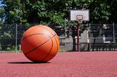 Outdoors Basketball Court With Basketball Ball During Sunny Day poster