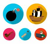 Pirate, Bandit, Ship, Sail .pirates Set Collection Icons In Flat Style Vector Symbol Stock Illustrat poster