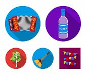 Russia, Country, Vodka, Accordion .russia Country Set Collection Icons In Flat Style Vector Symbol S poster