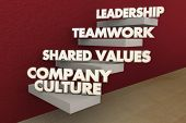 Company Culture Shared Values Teamwork Leadership Steps 3d Illustration poster
