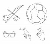 Brazil, Country, Ball, Football . Brazil Country Set Collection Icons In Outline Style Vector Symbol poster